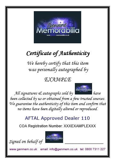 Genuine Memorabilia Certificate of Authenticity